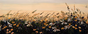 "SOLD ""Growing Carefree""  by Maya Eventov 24 x 60 – acrylic $3235 Unframed"