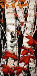 "SOLD ""Growing Tall II"" (PE-171093)  by Maya Eventov 12 x 24 – acrylic $940 Unframed"
