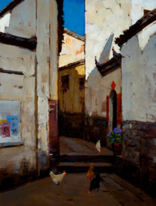 "SOLD ""In the Shade,"" by Min Ma 9 x 12 – acrylic $740 Unframed"