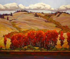 "SOLD ""Into the Hill,"" by Min Ma 30 x 36 – acrylic $4540 Framed"