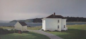 "SOLD ""Island Homestead"" by Keith Hiscock 23 x 48 – acrylic"