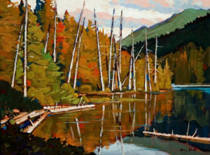 "SOLD ""Lakeside,"" by Min Ma 9 x 12 – acrylic $740 Unframed"