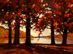 "SOLD ""Lakeside Autumn,"" by Min Ma 9 x 12 – acrylic $755 Framed"