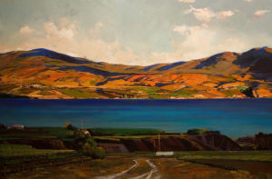 "SOLD ""Looking Across Okanagan Lake,"" by Min Ma 24 x 36 – acrylic $3990 Unframed"