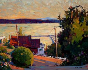 "SOLD ""Looking Over the Bay,"" by Min Ma 8 x 10 – acrylic $560 Framed"