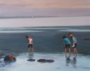 "SOLD ""Low Tide at Sunset"" by Shengtian Zheng 24 x 30 – oil $2115 Framed"