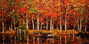 "SOLD ""Lush Fall,"" by Min Ma 24 x 48 – acrylic $4980 Unframed"
