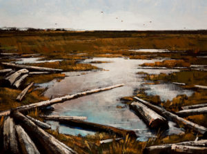 "SOLD ""Marsh Pond,"" by Min Ma 12 x 16 – acrylic $1310 Unframed"
