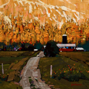 "SOLD ""Okanagan Country Road,"" by Min Ma 6 x 6 – acrylic $540 Unframed"