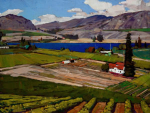 "SOLD ""Okanagan Valley,"" by Min Ma 9 x 12 – acrylic $740 Unframed"