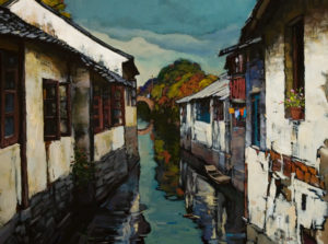 "SOLD ""Old Town Houses,"" by Min Ma 18 x 24 – acrylic $2235 Framed"