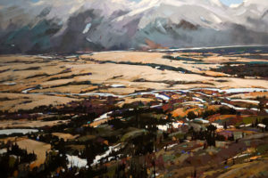 "SOLD ""Open Land,"" by Min Ma 24 x 36 – acrylic $4200 Unframed"