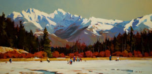 "SOLD ""Outdoor Ice Rink,"" by Min Ma 12 x 24 – acrylic $1920 Framed"