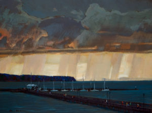 "SOLD ""The Pier at White Rock,"" by Min Ma 9 x 12 – acrylic $755 Framed"