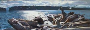 "SOLD ""Piled by Winter's Tides"" by Paul Grignon 12 x 34 – acrylic $2700 Framed"