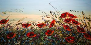 "SOLD ""Poppy Sunrise""  by Maya Eventov 24 x 48 – acrylic $2755 Unframed"