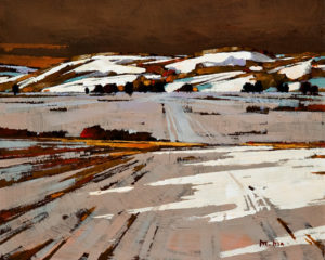 "SOLD ""Prairie Winter (Study),"" by Min Ma 8 x 10 – acrylic $670 Unframed"