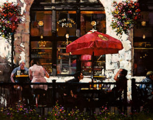 "SOLD ""Pub Afternoon – Study,"" by Min Ma 11 x 14 – acrylic $1040 Unframed"