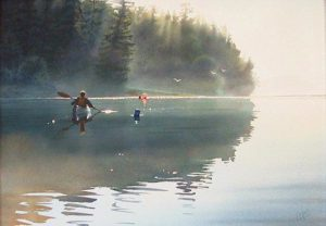 "SOLD ""Quiet Dawn"" by Carol Evans 20 x 28 – watercolour $8350 Framed"