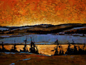 "SOLD ""Red Sky (Foothills Near Banff),"" by Min Ma 9 x 12 – acrylic $850 Unframed"