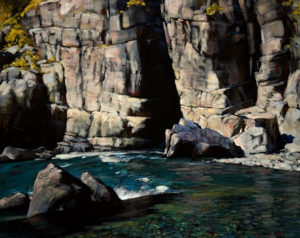 "SOLD ""River and Cliff,"" by Min Ma 16 x 20 – acrylic $1785 Unframed"