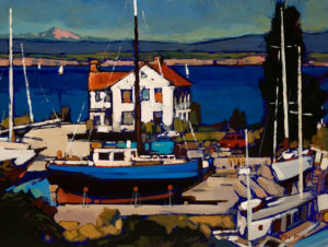 "SOLD ""Shipyard View,"" by Min Ma 9 x 12 – acrylic $755 Framed"