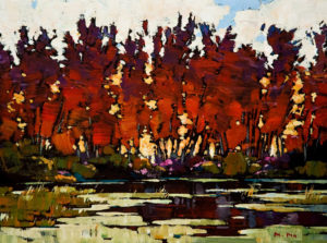 "SOLD ""Start of Fall,"" by Min Ma 12 x 16 – acrylic $1140 Unframed"