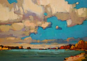 "SOLD ""Summer Sky,"" by Min Ma 5 x 7 – acrylic $420 Framed"