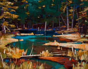 "SOLD ""Summer's Pond,"" by Min Ma 8 x 10 – acrylic $580 Unframed"