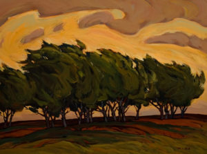 "SOLD ""Trees in Wind,"" by Min Ma 12 x 16 – acrylic $1350 Custom framed $1255 with standard frame"