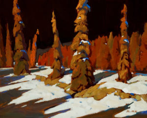 "SOLD ""Trees on Hill,"" by Min Ma 8 x 10 – acrylic $570 Custom framed $560 with standard frame"