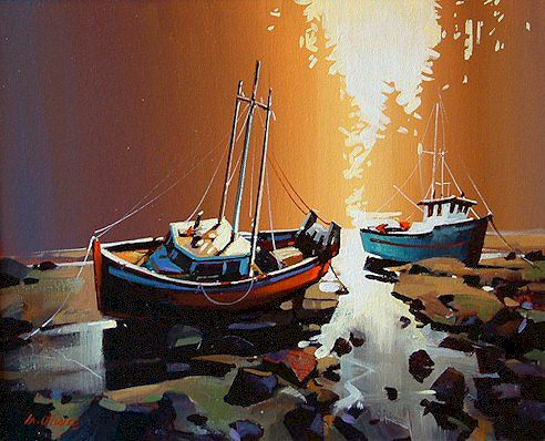 """SOLD """"Two Boats and a Sunset"""" 16 x 20 - acrylic $925 Framed"""