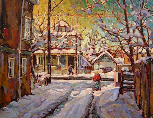 """SOLD """"Victoria and Gravely, Vancouver"""" 14 x 18 - oil $850 Framed"""