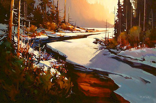"""SOLD """"Winter Afternoon in the Cariboo"""" 24 x 36 - acrylic $2210 Framed"""