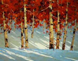 "SOLD ""Winter Breeze,"" by Min Ma 24 x 30 – acrylic $3785 Framed"