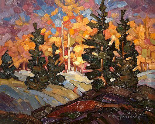 """SOLD """"Young Pines"""" 8 x 10 - oil $465 Framed"""
