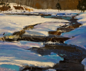 """SOLD """"April - Oxtongue River,"""" by David Lidbetter 10 x 12 - oil $1000 Unframed"""