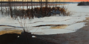 """SOLD """"Red Sky,"""" by David Lidbetter 12 x 24 – oil $1500 Unframed"""