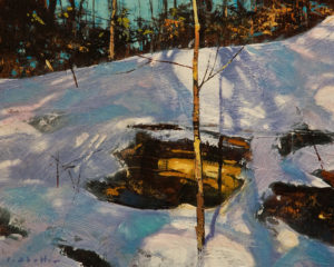 """SOLD """"Stand Alone,"""" by David Lidbetter 8 x 10 – oil $800 Unframed"""