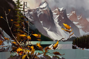 """SOLD """"Autumn and the Mist, Moraine Lake,"""" by Michael O'Toole 24 x 36 - acrylic $3880 Unframed"""