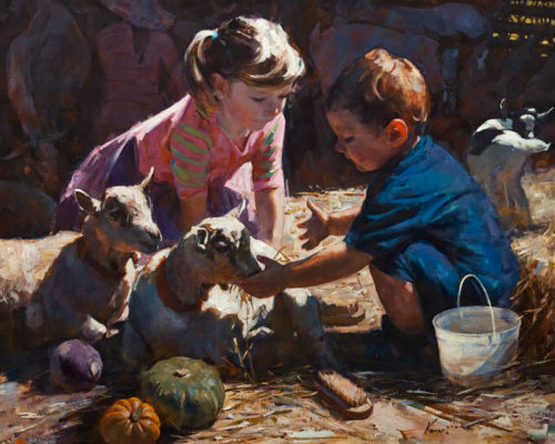 """Let Me Hug You,"" by Clement Kwan 24 x 30 - oil $6500 Unframed"