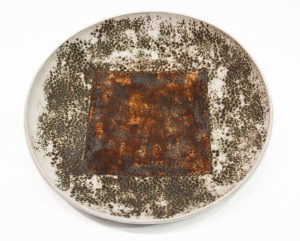 "Circle Square Bowl (LR-245) by Laurie Rolland hand-built ceramic - 12"" diameter x 2"" (H) $160"