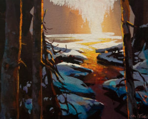 """SOLD """"Again: A Winter's Morning on a Crystal Stream"""" by Michael O'Toole 8 x 10 - acrylic $615 Unframed $825 in show frame"""
