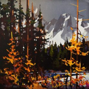 """SOLD """"Autumn in the Kootenays"""" by Michael O'Toole 10 x 10 - acrylic $685 Unframed $825 in show frame"""
