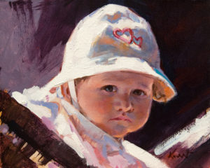"""Baby with Hat"" by Clement Kwan 8 x 10 - oil $1300 Unframed"
