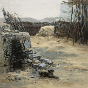 """SOLD """"Backyard Corner (Study)"""" by Donna Zhang 12 x 12 - oil $960 Unframed $1100 in show frame"""