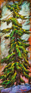 """SOLD """"Big Snowflakes,"""" by David Langevin 6 x 18 - acrylic $745 (panel with 2"""" painted edges)"""
