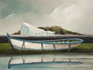 "SOLD ""Boat Reflected"" by Mark Fletcher 9 x 12 - acrylic $740 Unframed"