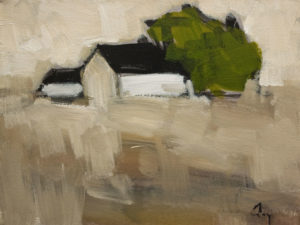 """SOLD """"Bons Voisins (Good Neighbours) No. 2"""" by Robert P. Roy 9 x 12 - oil $450 Unframed $680 in show frame"""