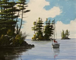 """SOLD """"Calm Seas"""" by Bill Saunders 8 x 10 - acrylic $650 Unframed $870 in show frame"""